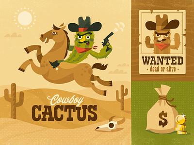 Cowboy Cactus childrens illustration horse cactus cowboy wildwest character vector design illustration