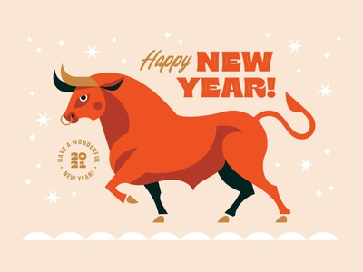 NY 2021 geometric design geometric art holiday new year bull emblem logo character vector design illustration