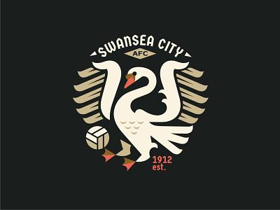 SWANSEA CITY AFC design vector logo character illustration illust wales england geometricart flat emblem coat of arms swan championship football swansea