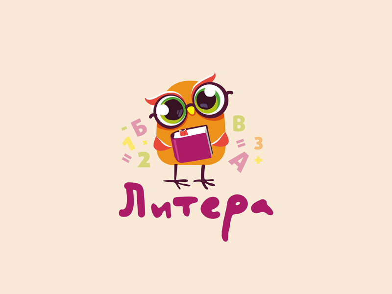 Litera owl vector illustration character logo