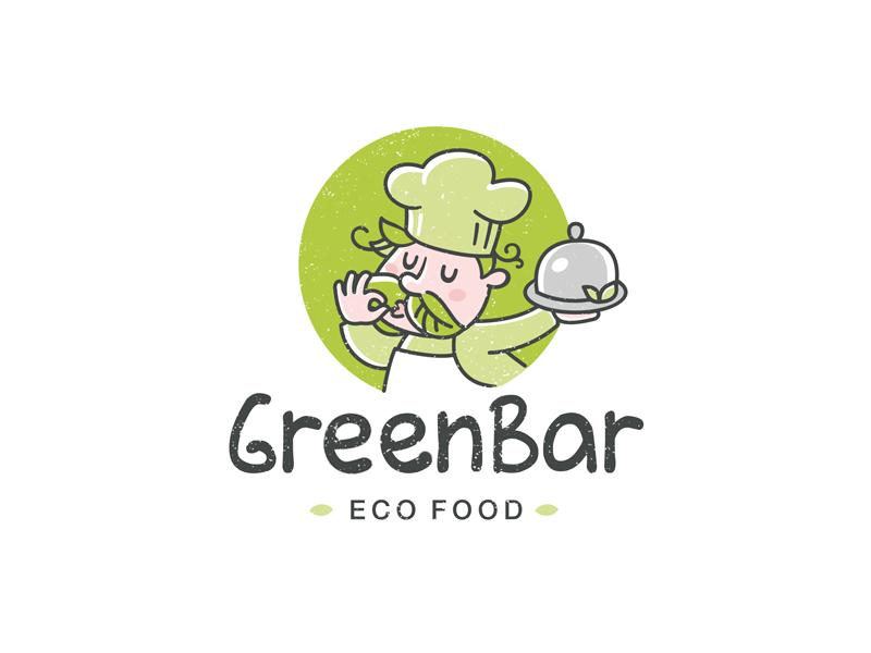 Greenbar ecofood character illustration design logo