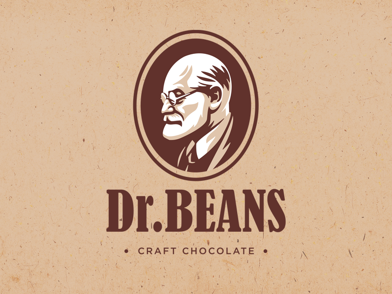 Dr.Beans chocolate vintage illustration design logo
