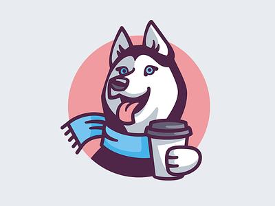 Husky Coffee dog coffee shop coffee husky emblem vector logo character design illustration
