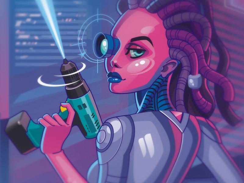 NW future cyberpunk vector design character illustration