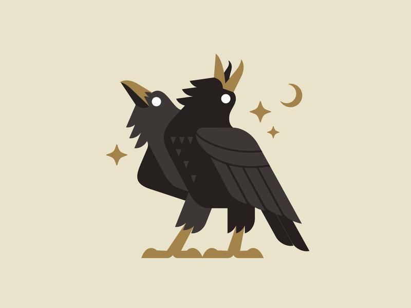 Two headed raven night noir mystic raven emblem logo vector design character illustration