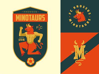 Minotaurs bull fiction football league fc football emblem logo vector design character illustration