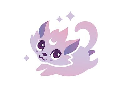 Moonfox magic moon fox emblem logo vector design character illustration