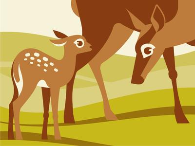 Deer family mother love nature family deer emblem logo vector design character illustration