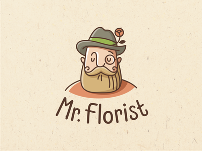 Mr Florist gardener florist flowers emblem logo vector design character illustration