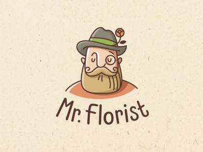 Mr Florist gardener florist flowers emblem logo vector design character illustration