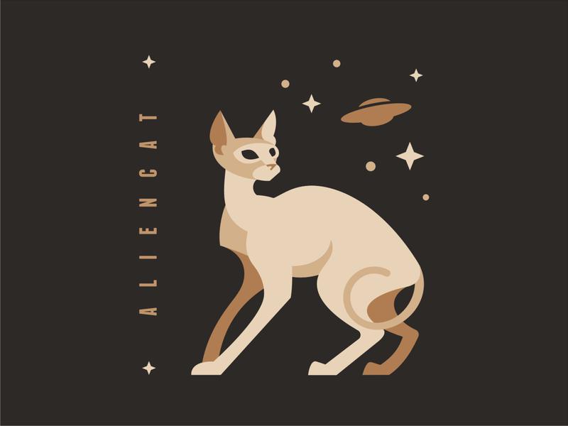 Аlien cat alien cat emblem logo vector design character illustration