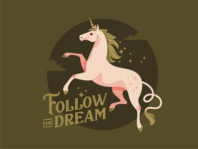 Unicorn horse dream unicorn emblem logo vector design character illustration