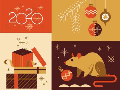 2020 magic gift christmas new year mouse rat emblem logo vector design character illustration