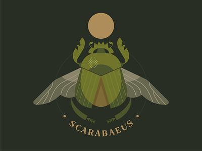 Scarabaeus  sacer symbol egypt emblem logo vector design character illustration