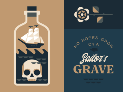 Sailor's Grave vintage sea ship rose scull sailor typography emblem logo vector design illustration