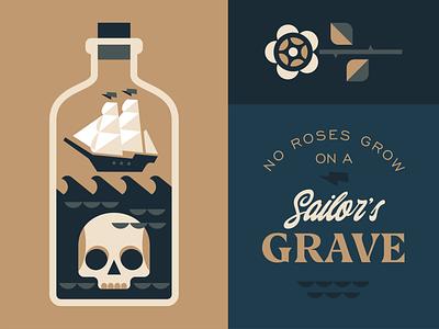 Sailor's Grave vintage sea ship rose scull sailor typography emblem logo vector design illustration