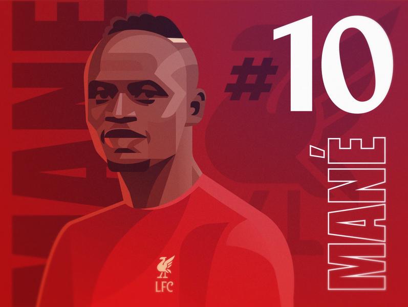 Sadio Mané ynwa sadio mane premier league design vector liverpool fc football lfc illustration