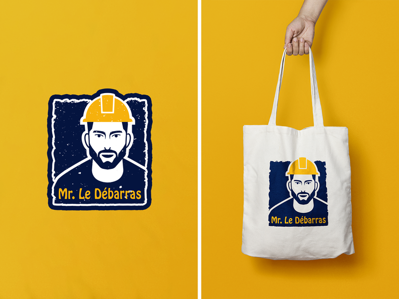 Mr. le Débarras hat man yellow blue branding design brand identity brand design typography vector icon branding logomark logodesign illustration illustrator logo design