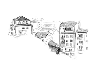 Beograd city drawing pencil sketch