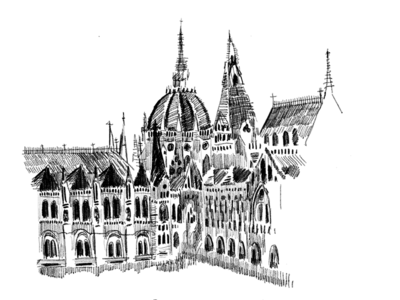Budapest city drawing pencil sketch