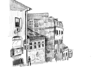Serbian streets sketch city drawing pencil sketch