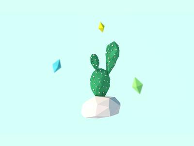 3D Prickly Pear Cactus illustration geometric plant cactus polygon render model low poly lowpoly cinema 4d c4d 3d
