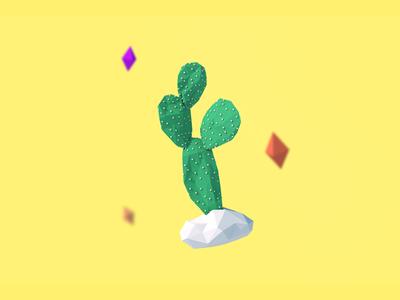 3D Cactus illustration geometric plant cactus polygon render model low poly lowpoly cinema 4d c4d 3d