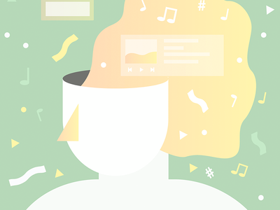 Streaming Consciously music notes head vector music illustration