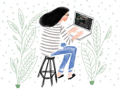 Female Engineer  analog illustration work office human plants hand-drawn code female coder