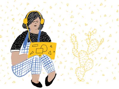 Yellow pattern headphones yellow drawing laptop sitting work illustration human hand-drawn