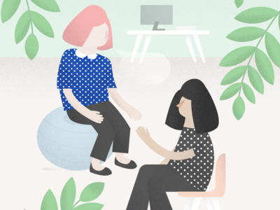 Empathy in the Office plants talking conversation computer office modern illustration empathy