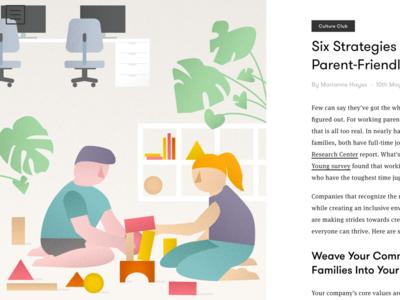 Parent Friendly Workplace Illustration illustration parents playing plants monstera work blocks kids
