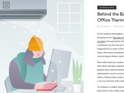 Behind the Battle Over the Office Thermostat cool editorial ac winter plants cold laptop vector illustration