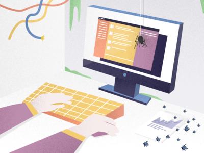 Office Horror Stories employee editorial monitor halloween slack office bugs desk spider worker illustration