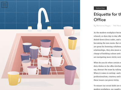 Etiquette for the modern office grid magazine editorial illustration sink cups dishes etiquette office