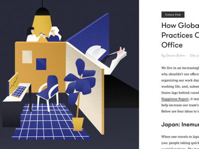How Global Workplace Practices Can Benefit Your Office naps fika magazine tech startup futuristic plants office editorial illustration