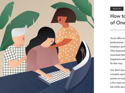 Teamofone female coder coder tech startup modern office work plant flat design desk drawing plants editorial office illustration