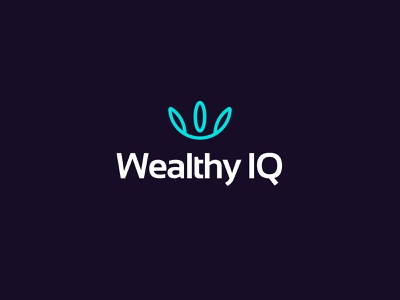 Wealthy IQ branding agency branding abstract clean modern software service financial secure freedom money wealth brand design logo