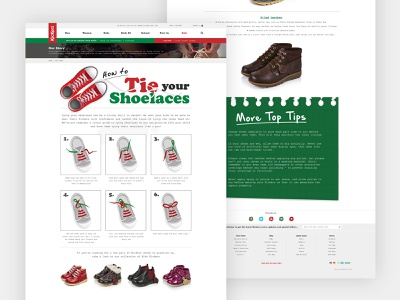 Kickers® Shoe Care Landing Page b2c b2b photoshop interface wordpress red kickers website shoe care shoes landing page green boots web design