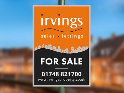 Irvings Estate Agent Board sale sign irvings outdoor sign illustrator realtor modern design board estate agent