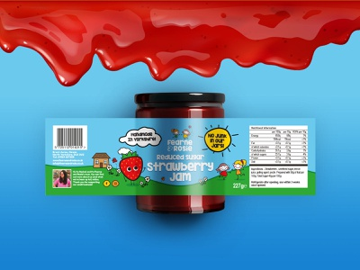 Fearne and Rosie Brand and Labels label design strawberry sauce playful packaging logo jar illustrator happy fearne and rosie label jam colourful design colorful chocolate characters children brand