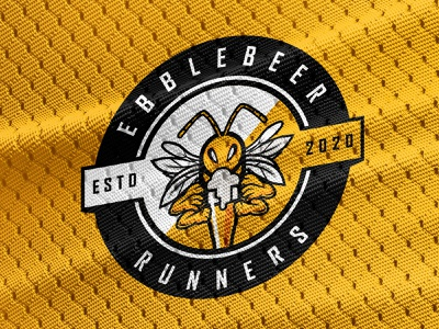 Epplebeer Runners logo playful jersey colourful drinking beer wasp fun sports emblem brand logo