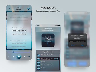 Kolingua | Korean Language Learning App UI Design app deisgn ui designer uiux ux uidesign uxdesign product design mobile ui mobile design ui mobile app design language app learning app app designer