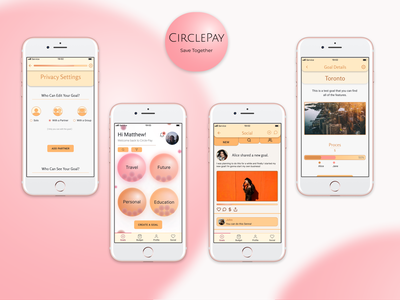 CirclePay | Personal Finance App | UI Design mobile mobile app design goal tracking tool goals social apps personal finance app personal finance mobile app mobile design ui design
