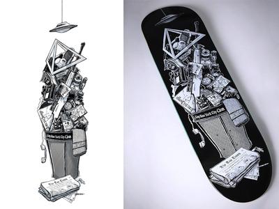 theories decade theories of atlantis theories brand skateboard graphic skateboard design illustration