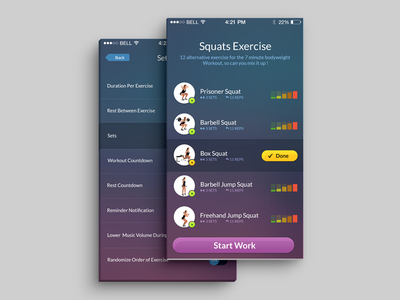 Workout app dashboad template interface ux ui