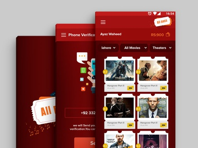Cinema Pass  cinema mockup colors ux app ui