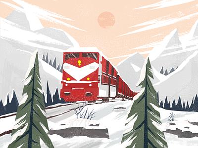 Snow forest winter debut illustration design
