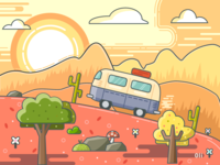 AI line drawing illustration sunset scene at dusk