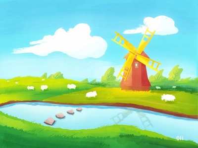 Windmill on the river bank
